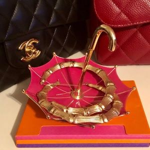 Pink and Gold Enameled Umbrella Jewelry Holder